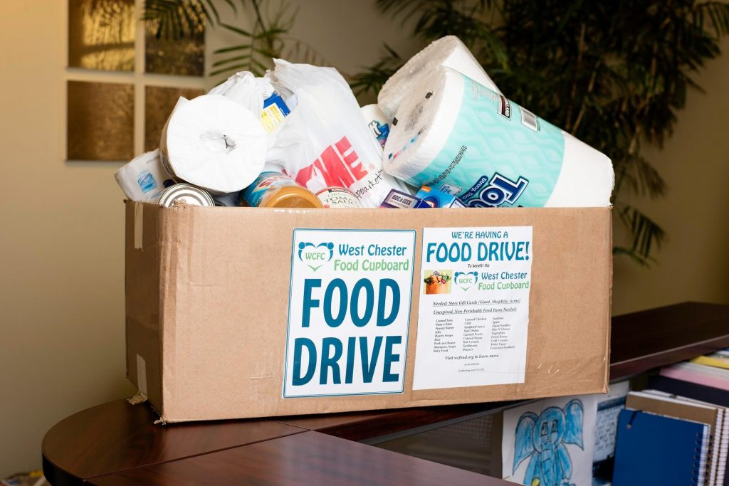 Box of food and toiletries for Food Drive of West Chester Food cupboard